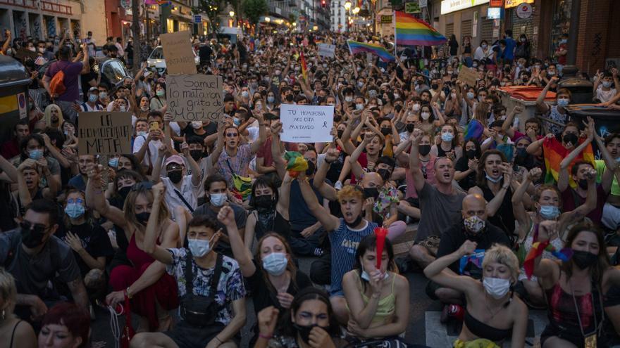 Manifestación en Madrid en protesta por el asesinato de Samuel Luiz / OLMO CALVO