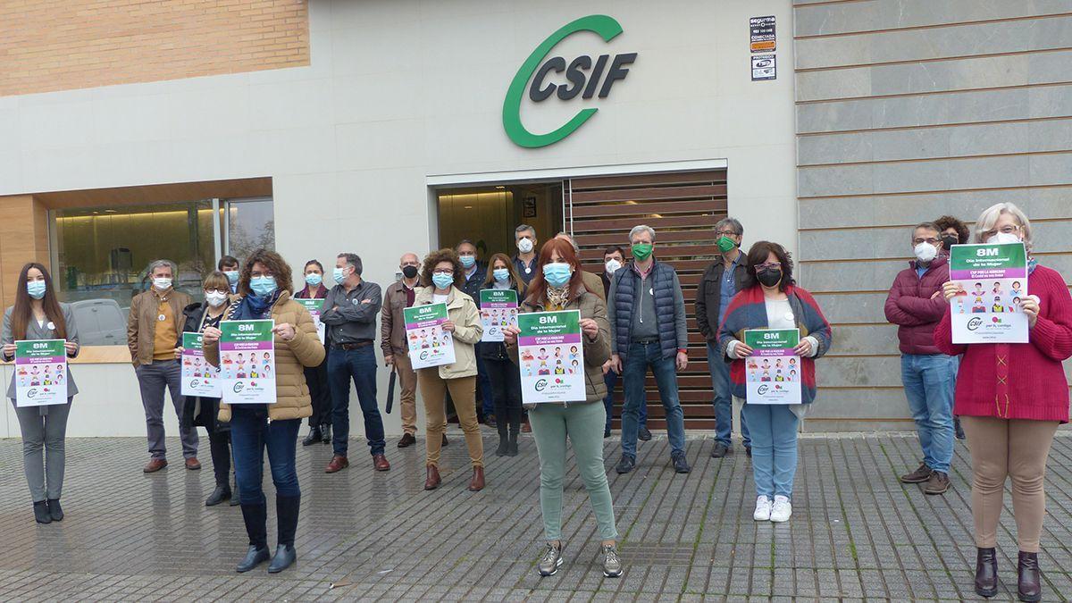 Miembros de CSIF en una protesta.