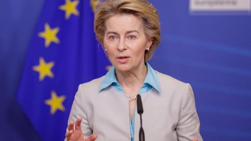 La presidenta de la CE, Ursula von der Leyen, hoy.