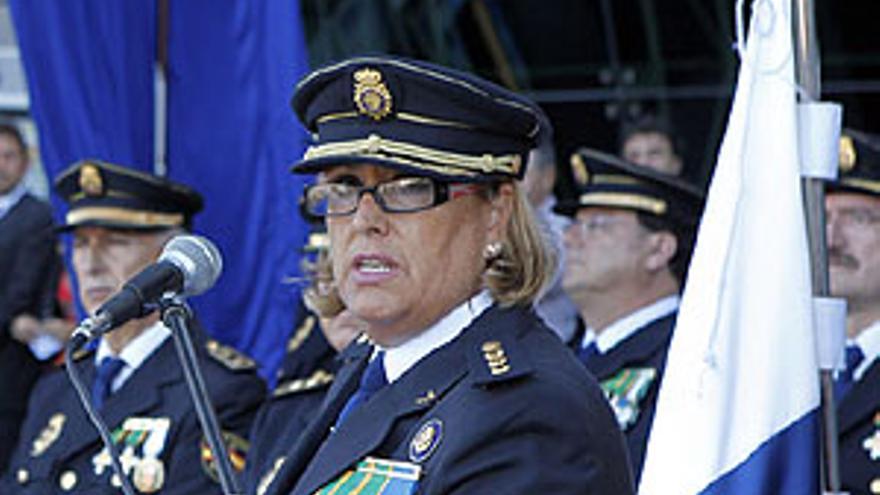 Concepción de Vega este lunes durante el acto oficial del Día de la Policía. (ACFI PRESS)
