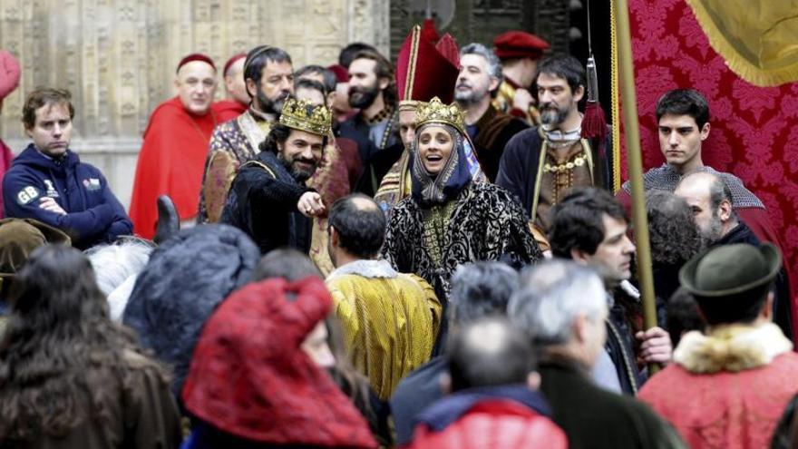 Un momento del rodaje de la serie que emite Televisión Española, 'Isabel'