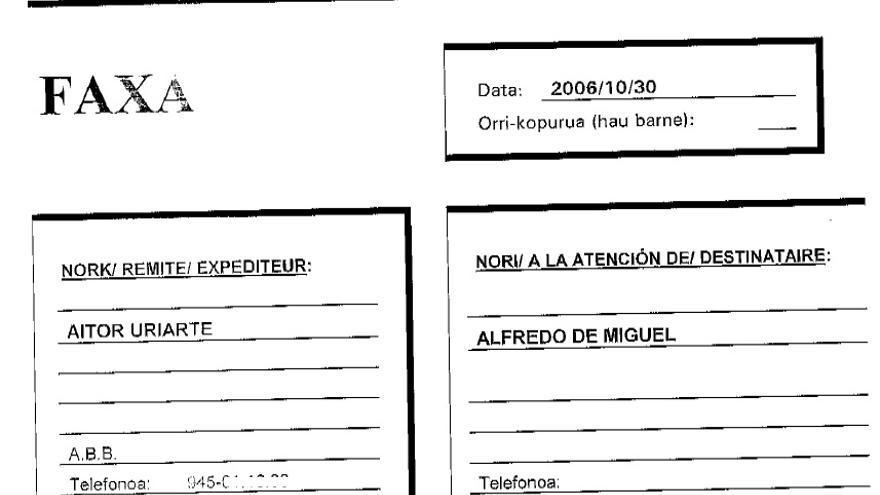 Fax enviado desde el Araba Buru Batzar del PNV a Kataia Consulting