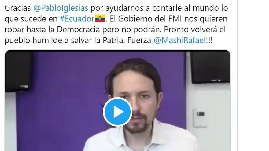 Exteriores informó a Ecuador de que el vídeo de Iglesias que motivó una protesta es anterior a su llegada al Gobierno
