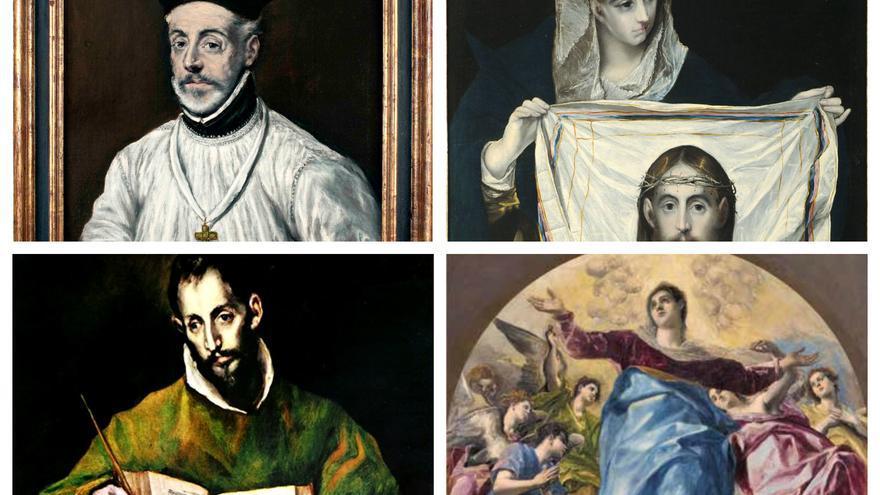 Collage de algunos de los cuadros del Greco que podrán verse en la exposición