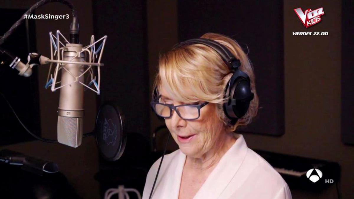 Esperanza Aguirre, en el estudio de grabación de 'Mask Singer 2'