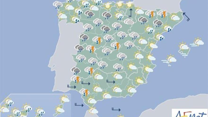Hoy, precipitaciones en gran parte de la península y descenso térmico