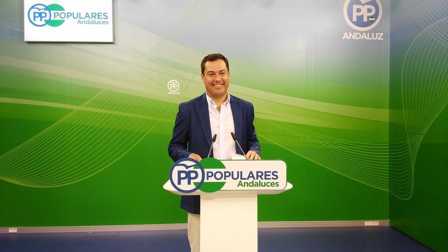 El líder del PP andaluz, este lunes en la sede regional