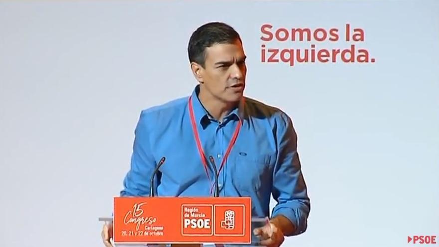 Pedro Sánchez interviene en el congreso del PSOE de Murcia