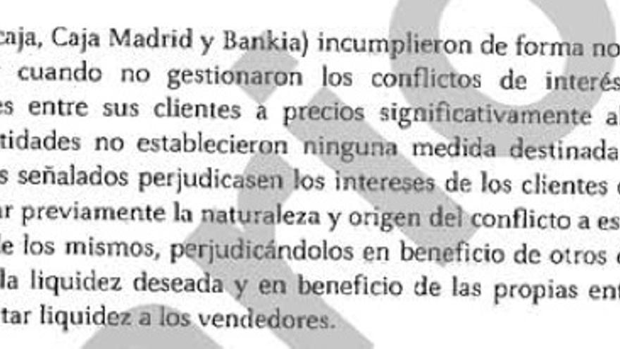 """Fragmento del informe de la CNMV titulado """"Informe razonado sobre el case de operaciones sobre participaciones preferentes y deuda subordinada emitidas por Bancaja y Caja Madrid, entidades integradas en Bankia (eldiario.es)"""