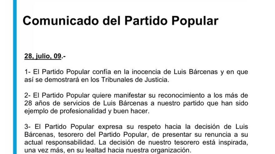 Comunicado del PP sobre la dimisión de Bárcenas en 2009
