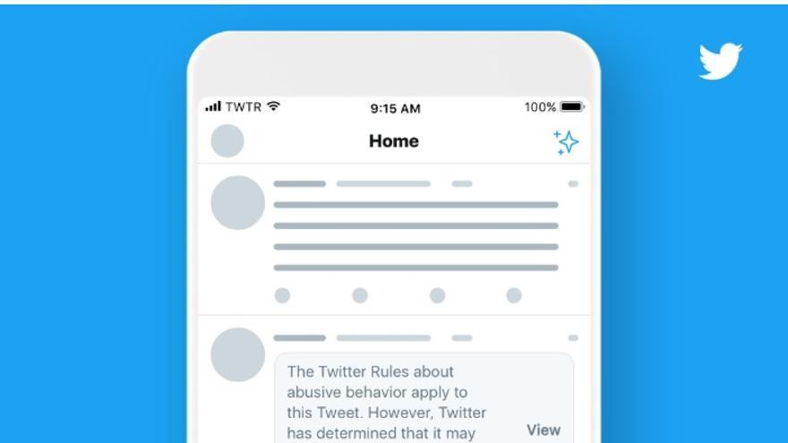 """Mensaje de aviso con el que Twitter señalará los comentarios que han sido declarados por la empresa como de """"interés público"""" aunque violen sus términos de uso."""