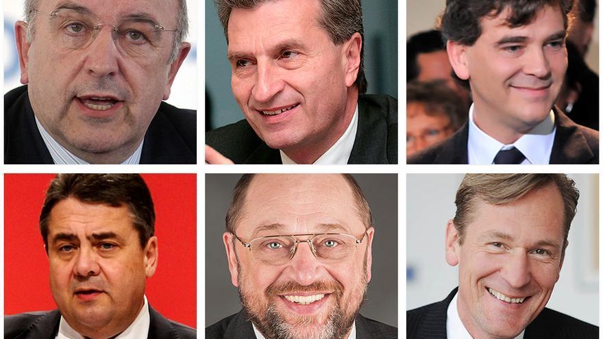 Algunos de los políticos de la UE que intervienen en el 'Caso Google': Joaquín Almunia, Gunther Oettinger, Arnaud Montebourg, Sigmar Gabriel, Martin Schulz, Mathias Dopfner