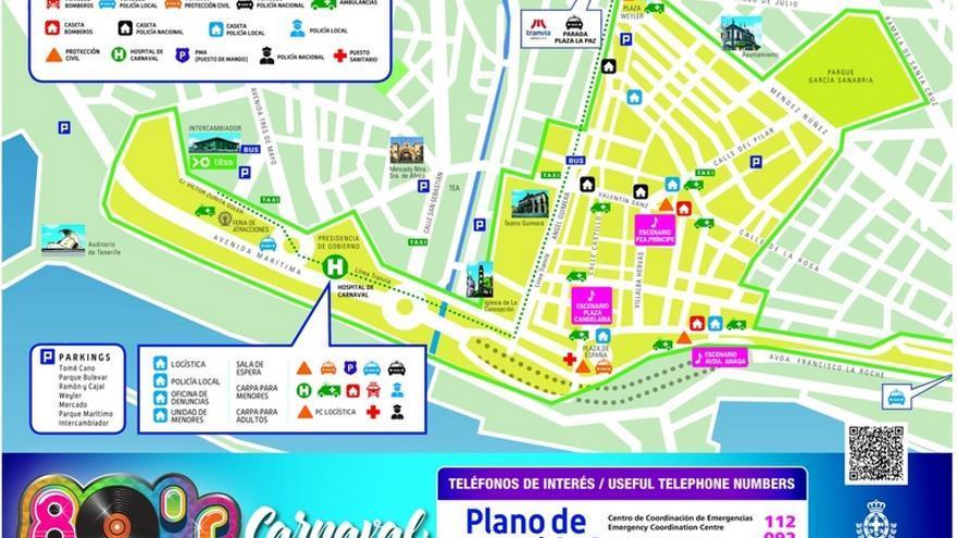 Plano informativo del Ayuntamiento de Santa Cruz de Tenerife con los escenarios del Carnaval y los recursos sanitarios y de seguridad previstos