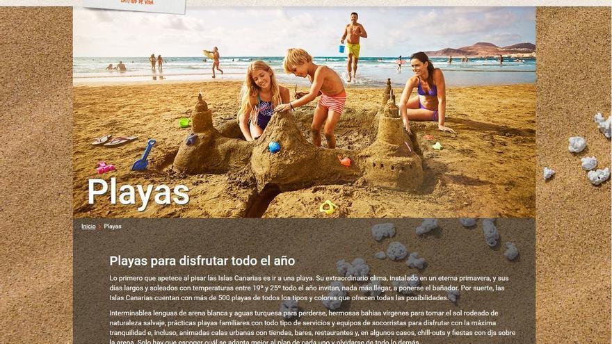 Web promocional de Turismo de Canarias. Playa de Las Canteras