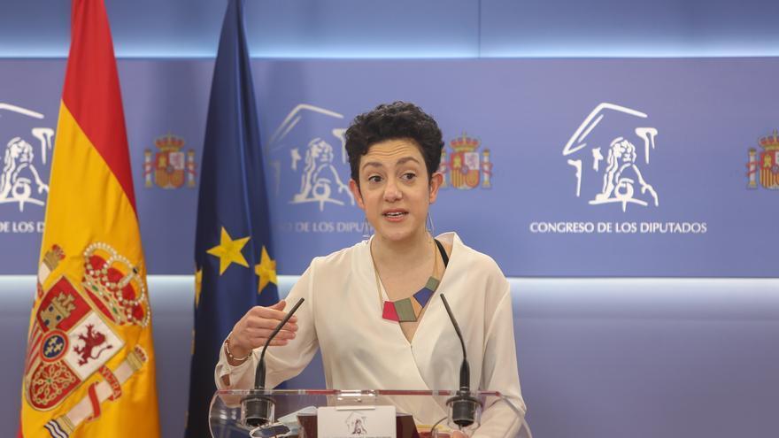 Archivo - La portavoz parlamentaria de Unidas Podemos, Aina Vidal, interviene en una rueda de prensa posterior a una Mesa del Congreso de los Diputados, en Madrid (España), a 9 de marzo de 2021.