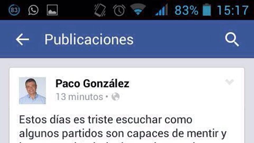 Mensaje publicado por Francisco González en su cuenta de Facebook.
