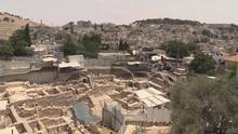 Fotografía que muestra la excavación arqueológica israelí que trata de descubrir vestigios romanos y judíos en el barrio palestino de Silwán