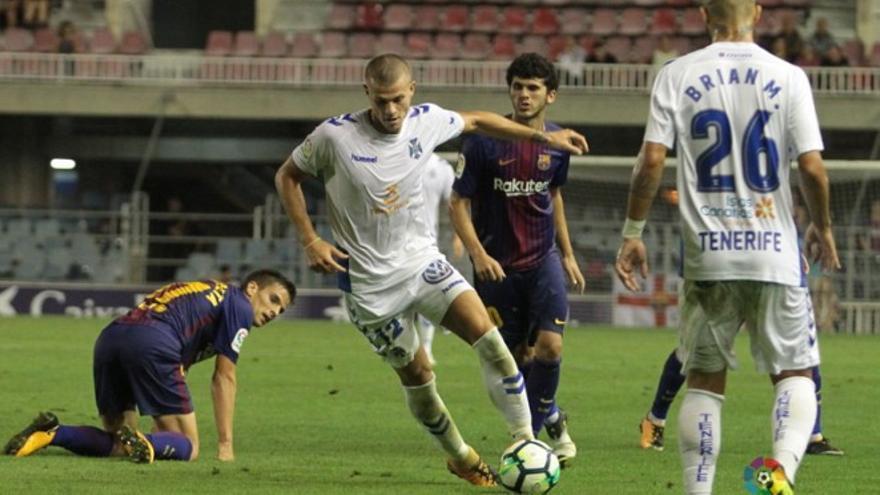 Samuele Longo en el partido ante el Barcelona B