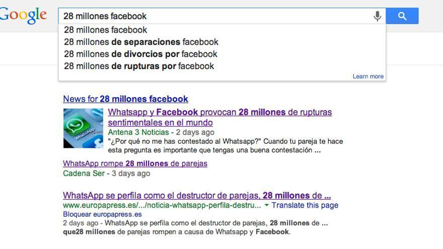 Google muestra como búsqueda sugerida el falso estudio sobre Facebook.