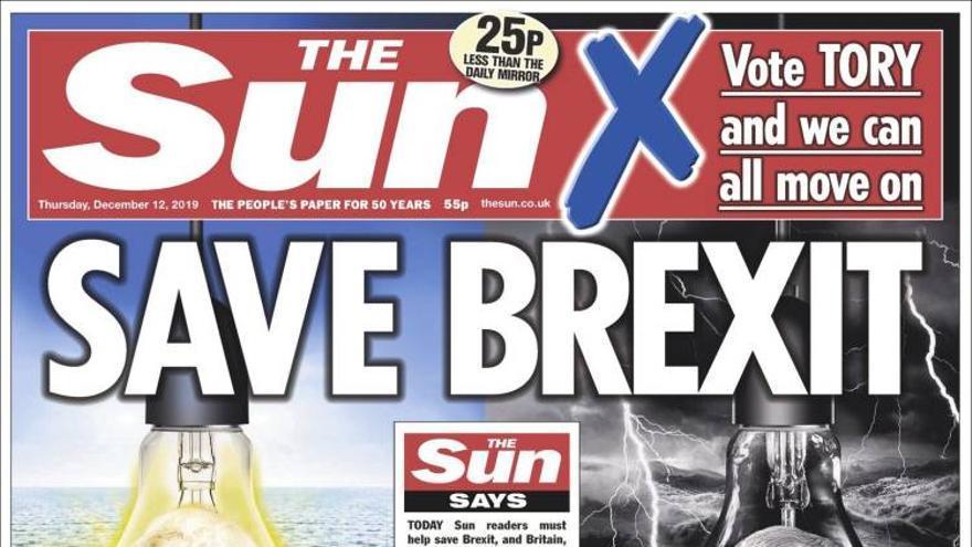 Portada de The Sun el día de la jornada electoral