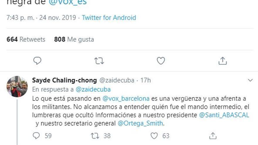 El hilo de Twitter de Sayde Chaling-Chong criticando a la dirección de Vox.
