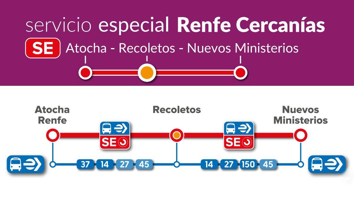 Paradas del Servicio especial EMT Atocha-Recoletos-Nuevos Ministerios   EMT