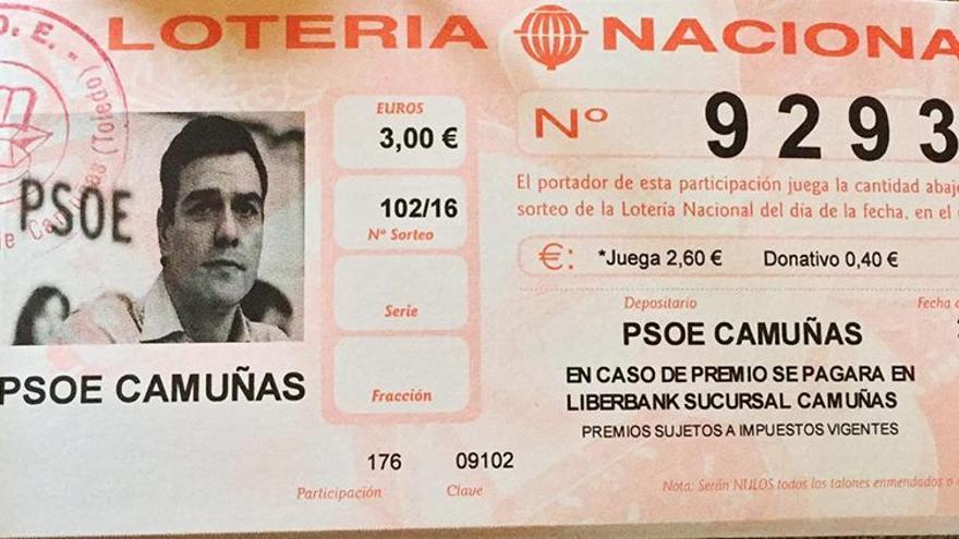 Lotería con la cara de Pedro Sánchez