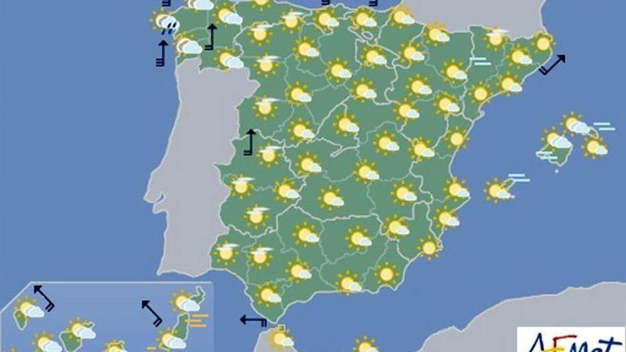 Hoy, lluvias fuertes en Galicia y vientos muy fuertes en norte peninsular