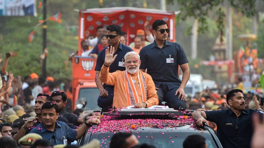 El primer ministro indio Narendra Modi durante una visita a Varanasi.