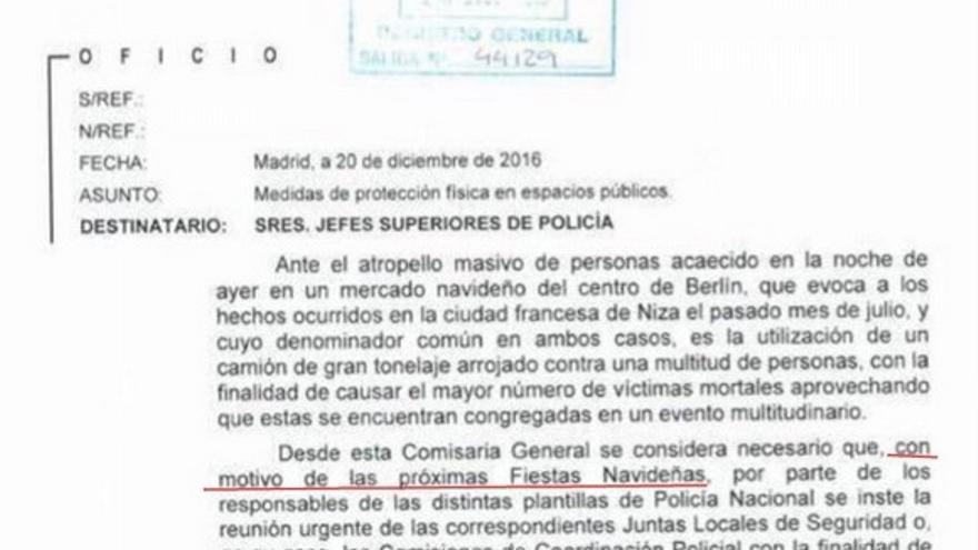 Extracto de la carta del Ministerio del Interior que recomendaba obstáculos disuasorios durante el periodo navideño, difundida por Barcelona en Comú.