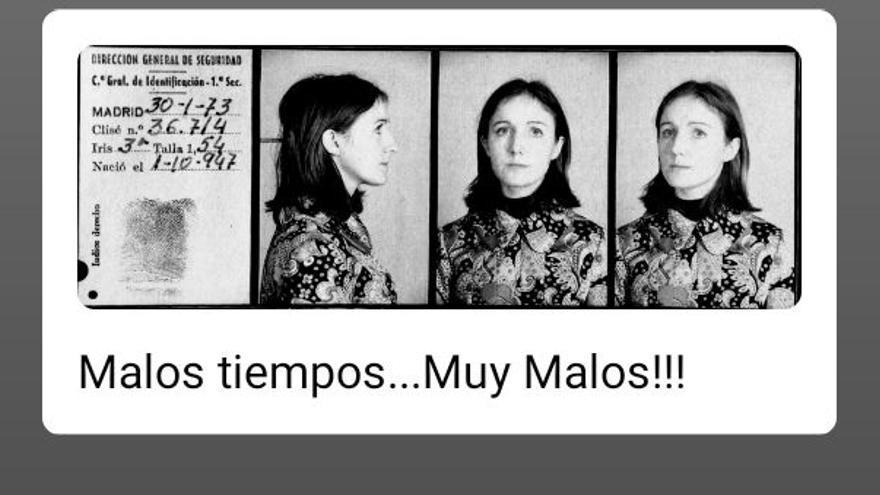 Ficha de detención de Nati Camacho, presa del penal de Carabanchel