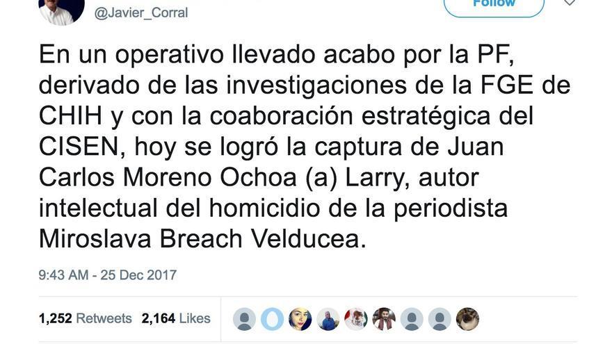 El gobernador Javier Corral anunció la captura de El Larry el 25 de diciembre de 2017. En medios locales se informó que tras cometer el crimen huyó a Chínipas en la avioneta que mató a Nitzia Mendoza y a Yoselín Morquecho. De: Cuenta de Twitter de Javier Corral (@Javier_Corral).