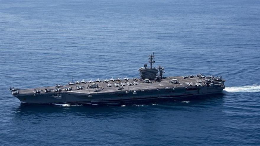 Portaaviones enviado a Corea del Norte aún se encuentra en el Índico