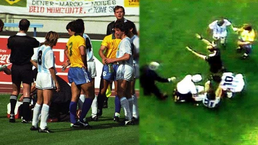Momento de la entrada de Ricardo Rocha a Pedro Troglio