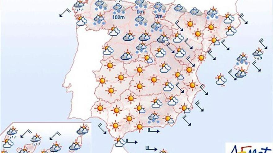 Mañana, continúan las nevadas, las heladas y los vientos fuertes
