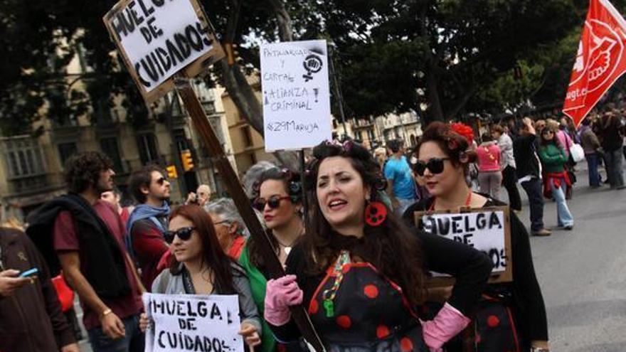 Participantes en la huelga de cuidados el pasado 29-M en Málaga. Foto: Colectivo Feministas en Movimiento