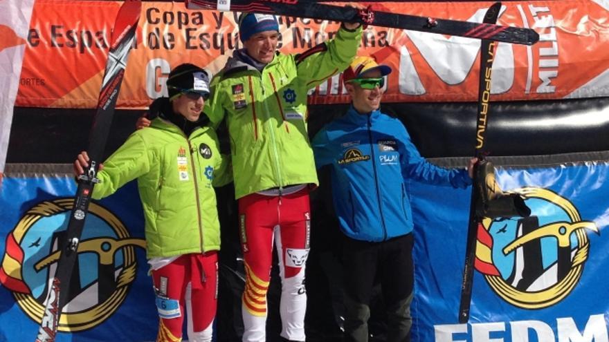Podio masculino del Campeonato de España de Esquí de Montaña celebrado en Boí Taüll (© FEDME).