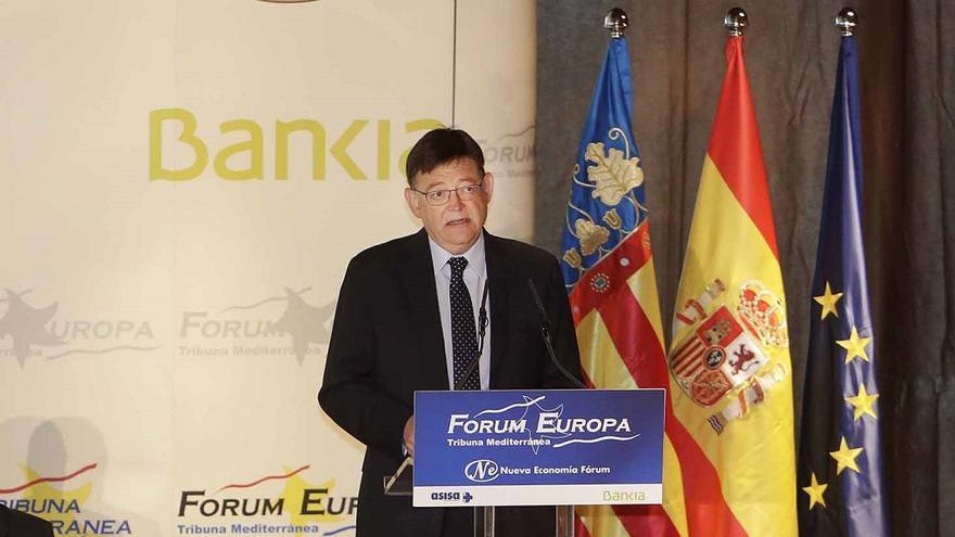Ximo Puig, durante su intervención en el Fórum Europa