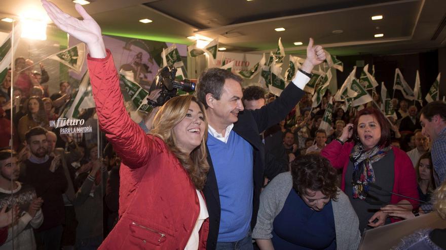 Susana Díaz y José Luis Rodríguez Zapatero en un mitin en Granada en la campaña del 20D.