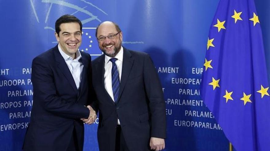 Alexis Tsipras y Martin Shulz, foto de archivo.