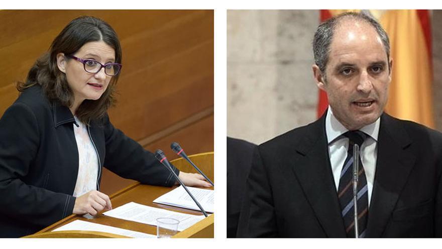 La vicepresidenta valenciana Mónica Oltra y el expresident Francisco Camps