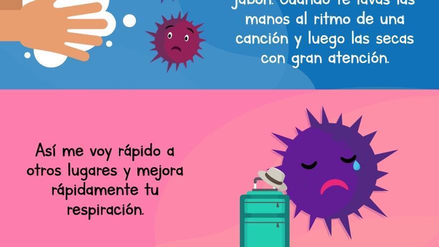 Extracto del cuento sobre el coronavirus para niños y niños elaborado por el Gobierno de Canarias.