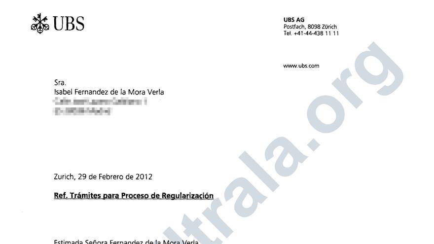 Certificado de titularidad de Isabel Fernández de la Mora de una cuenta en el banco suizo UBS