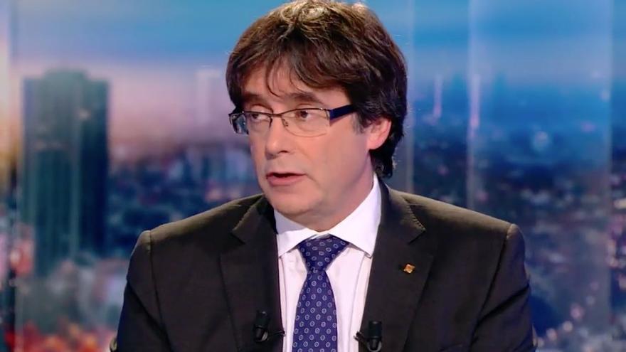 Carles Puigdemont, durante la entrevista concedida a la televisión pública belga