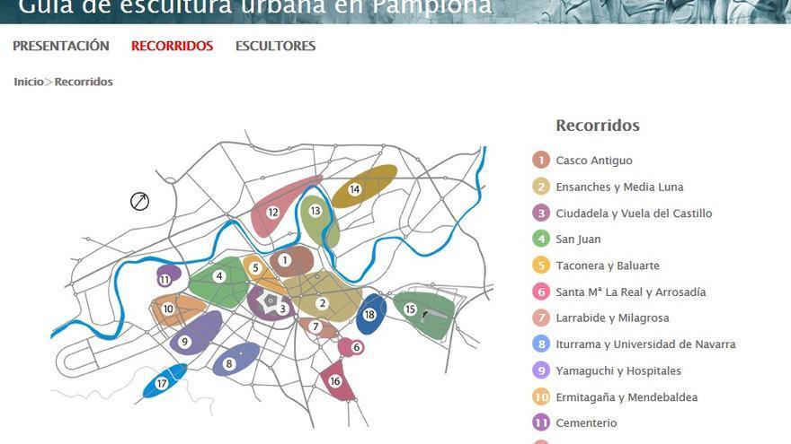 El mapa elaborado por el Ayuntamiento de Pamplona con las esculturas municipales.