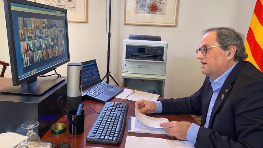 El president, Quim Torra, durante una vídeoconferencia.