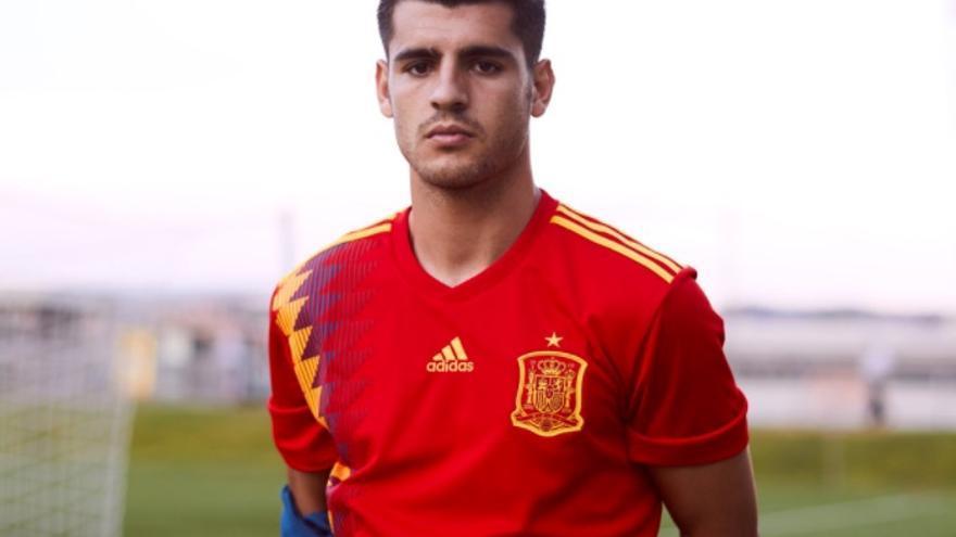 Morata, con la nueva camiseta de la selección española