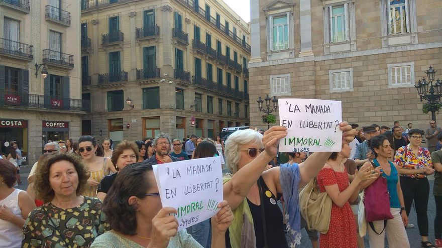 Un momento de la concentración en Barcelona.