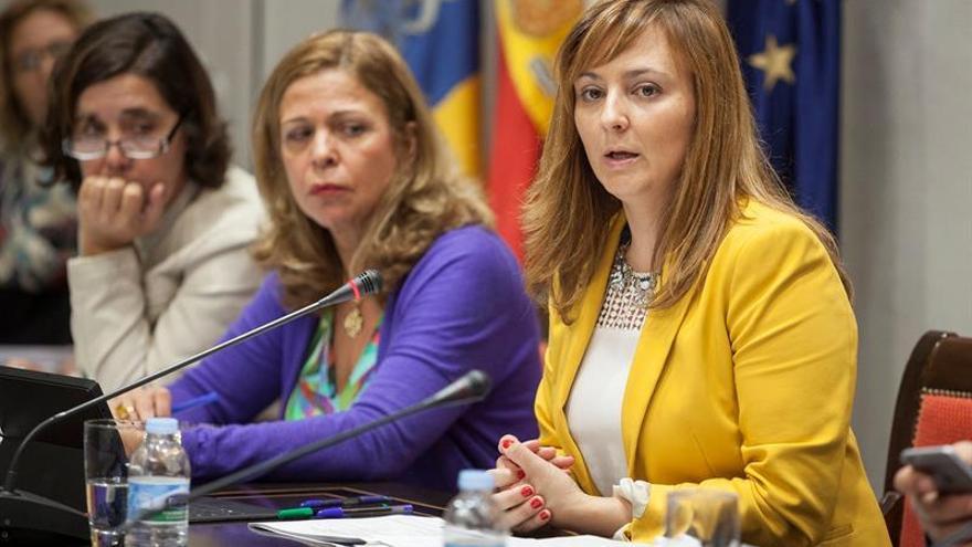 La consejera de Política Territorial, Sostenibilidad y Seguridad, Nieves Lady Barreto (d), durante la presentación de la gestión de las cuentas de su departamento, de acuerdo al proyecto de ley de los presupuestos generales de la comunidad autónoma para el 2016. EFE/Ramón de la Rocha