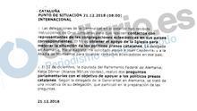 Nota reservada del Ministerio de Exteriores sobre un mensaje de Junqueras a las delegaciones de la Generalitat en el exterior